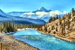 North Saskatchewan River, Banff National Park, Alberta, Canada - p1233e (photos by Bob V) Tags: mountains rockies rockymountains canadianrockies banff banffpark banffnationalpark banffalberta banffalbertacanada panorama mountainpanorama northsaskatchewanriver