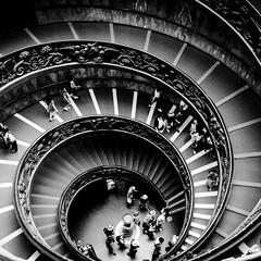 Stairs. Vatican Museum (paolahiguera) Tags: blancoynegro blackandwhite bw iphonephotography travel mobilephotography iphoneography iphone escaleras stairs vaticanmuseum vaticano vatican italia italy europa europe