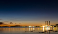 5:15 a home time long exposure (Chris B70D) Tags: dundee broughty ferry dusk evening night sunset sky clouds winter colours orange landscape oil rigs coast water river tay reflections long exposure lights silhouette stars beach dark scotland coastal city east chris berridge photography canon 70d 18135mm calm peaceful still silent home