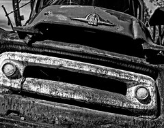 A Gaping Maw Looking to Harvest a Snack (Anvilcloud) Tags: bw truck oldtruck barrysbay ontario canada ca htt explored