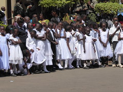 First Communion candidates (prondis_in_kenya) Tags: kenya nairobi shortrains holyfamily basilica church cathedral catholic uniform uniformedservices thanksgiving firstcommunion dress white