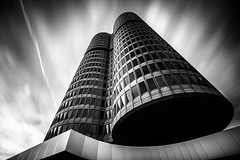 Isolated Vision Series : Darkstar BW (Substant Photography) Tags: architecture architectural longexposure blackwhite fineart modern futuristic city urban munich building skyscraper abstract clowds sky blacksky black white wideangle art design filter facade geometry nd naturallight