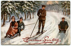Christmas postcard (1911) (The Wright Archive) Tags: christmas greetings postcard oilette painting vintage homeward bound winter sports series number 7828 published by raphael tuck printed england weybridge postmark 23 december 1911 postal history edwardian snow sledge ski skis miss read co mrs harding brantwood englefield green egham surrey florence aunty wright archive 1900s