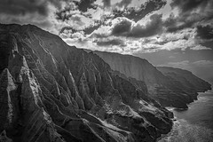 Napali Coast with the Doors Off (ejmoreno783) Tags: 2016 6d canon emoreno hawaii honeymoon helicopter doors off napali coast ocean sea beach landscape clouds bw cliffs contrast shadows sunlight light tourist tour tourism travel