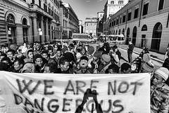 We are not dangerous, we are in danger (www.jeanpierrerieu.fr) Tags: wwwjeanpierrerieufr nb noiretblanc bw italie rome migrants