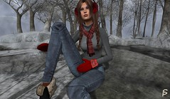 Will snow soon (Sophia Paez) Tags: avatar doll design digital virtual blog blogger bloggers boots sophiapaez secondlife sl sexy snow casual winter modeling modelling mesh model models mina hair frozen fair ghee jeans scarf red gray grey aliud