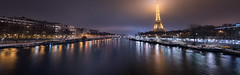 The Foggy Lady (the_wonderer_wanderer) Tags: fog foggy iron lady eiffel tower tour monument paris france europe iledefrance nightscape nightshot cityscape city citylights longexposure panoramic hdr quai banly port debilly suffren seine river