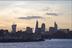 LONDON SKYLINE (alenicofusarelli) Tags: world greatbritain sunset bird london water thames boat fly europe flight dream bank queen canarywharf plain gherkin pil londonskyline