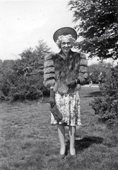 Glamourous Lady (vintage ladies) Tags: portrait people blackandwhite woman man men smile lady vintage fur glasses glamour pretty dress gloves lovely handbag furs 40s 40sstyle 40sgirl 40swoman 40slady