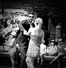 Let's Dance (Cindy's Here) Tags: bw music canada canon dance downtown winnipeg manitoba thecube oldmarketsquare thefringefestival letsdancetodirtycatfish