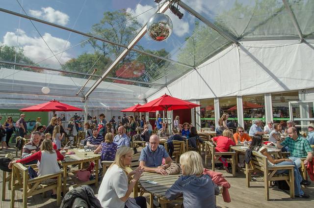 Busy cafe at the Edinburgh International Book Festival