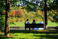 La discussion (CGilles7) Tags: park shadow jaune automne rouge plateau vert capitale luxembourg arbre parc ville banc kirchberg mittagspause pausedjeuner ladiscussion gilles7