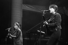 Tegan & Sara (peterkelly) Tags: bw musician music ontario canada mike island concert guitar guelph player northamerica microphone hillside guitarist tegansara 2014 hillsidefestival guelphlakeconservationarea