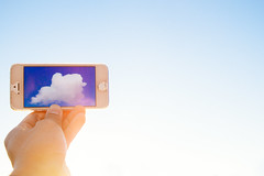 Technology Creates (Indie Christian) Tags: sky cloud technology hand iphone