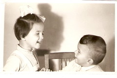 1955. Me and my brother (elinor04 thanks for 25,000,000+ views!) Tags: family boy girl childhood kids vintage photo hungary child little sister brother budapest siblings bow 1950s familyalbum hungarian kidsfashion elinorsvintagefamilyphotocollection childrens1950sfashion