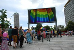 "Rainbow Flag on the Big Screen - Plymouth City Centre • <a style=""font-size:0.8em;"" href=""http://www.flickr.com/photos/66700933@N06/14880238812/"" target=""_blank"">View on Flickr</a>"