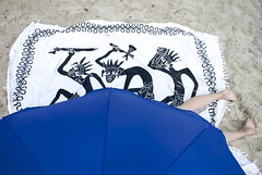 (Roberto Deri) Tags: street blue summer beach umbrella photography funny crime murder
