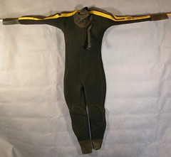 Cousteau vintage U.S. Diver's drysuit. (Vintage Scuba) Tags: two man black men wet water yellow fetish vintage silver one us divers aqua mask under scuba diving rubber suit mans mens diver piece jacques striped drysuit fins wetsuit breathing lung aparatus neoprene