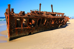 The Rusting Wreck of the SS Maheno, Maheno Beach, Fraser Island, SE Queensland (Black Diamond Images) Tags: tourism australia shipwreck queensland wreck fraserisland cyclone uxo maheno easternbeach mahenowreck 75milebeach kgari sequeensland ssmaheno oonah unexplodedordnance worldheritagearea greatsandynationalpark williamdennyandbrothers australianshipwrecks mahenobeach unioncompanyofnewzealand