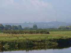 my-world-spot the heron (johnb/Derbys/UK.) Tags: morning autumn hot colour green heron electric misty river countryside interesting ratcliffe pov walk derwent derbyshire pollution bloom fields powerstation chillout howitis