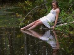 Time for Reflection (Luv Duck - Thanks for 15M Views!) Tags: reflection girl pretty rebecca whitedress earthquakepark girlsinalaska