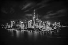The Bund at night (rach_photos) Tags: china above bw white black tower night river photography mono high long exposure shanghai pearl pudong financial bund chinashanghai 500px ifttt