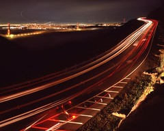 Streaking to the Shoot (RZ68) Tags: road street city bridge light sea cars film fog skyline night dark for golden crazy gate san francisco angle marin low towers wide foggy trails photographers velvia headlands streaks provia rz67 ggnra e100 conzelman