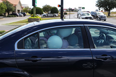 Weatherford, Texas. 2014. (Clif Wright) Tags: girl balloons streetphotography weatherfordtexas