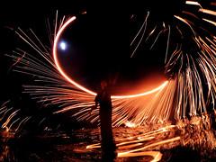 In The Midst of Fire Explored #481 07-09-2014 (Azrol Azmi) Tags: moon reflection water fire lagoon flame spark brunei midautumn steelwool airbiscuit midautumnmoon azrolazmi bruneilandscapiers