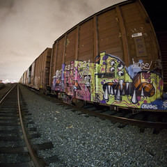 CUATE (TRUE 2 DEATH) Tags: longexposure railroad by train graffiti tag graf sigma trains zee db fisheye railcar spraypaint z boxcar stm zombies 8mm railways railfan freight wab wh booyah fisheyelens freighttrain rollingstock rtd flyid cuate sigmalens 8mmfisheye benching sigma8mmfisheye freighttraingraffiti pentaxk3 t2dpentaxk3atnight