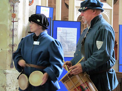 Colchester Waits at St Mary de Crypt (pefkosmad) Tags: people music playing heritage history church musicians costume clothing performance band recital medieval gloucestershire gloucester renaissance colchester waits shawm heritageopendays stmarydecrypt internationalguildoftownpipers internationalfestivaloftownpipers heritageopendays2014