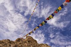 Colourful Tibetan Flags (wandervox) Tags: blue sky india clouds nikon colorful flag north tibetan kashmir leh ladakh jammu swirling jammuandkashmir d700