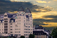 The building (KmG's Randomizzing world) Tags: sunset urban sun building oslo nikon cityscape d7000
