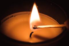 Macro Mondays: Handle With Care//FiRe! (NVOXVII) Tags: hmm macro closeup candle match wick wood burning warm glowing nikon macromonday macrophotography flame