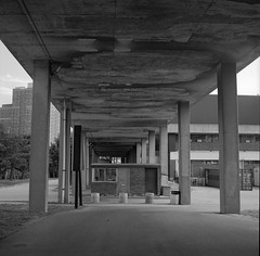 Gatehouse (geowelch) Tags: toronto thejunction commercialbuildings warehouse industrialarchitecture urbanfragments urbanlandscape concrete newtopographics blackandwhite film 120 6x6 mediumformat kodakbw400cn c41 yashicamat epsonperfection4870photo