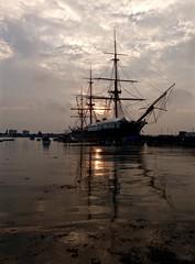 HMS Warrior (Sarah Marston) Tags: ship hmswarrior sunset portsmouth portsmouthharbour sony rx100m4 september 2016 reflection