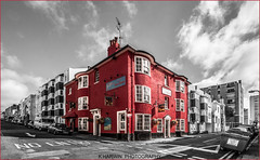 THE LION & LOBSTER (Kevin HARWIN) Tags: building red pub alcohol food road car bin door window brighton east sussex uk england seaside canon eos 70d sigma 1020mm lens sky clouds black white selective colour