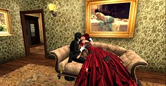 A very sweetly albeit, drunken kiss (Allie Carpathia) Tags: victorian brothel butler witch autumn friends roleplay darkradiance kiss secondlife