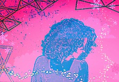 DSC_4526 (dina.elle) Tags: ritratto donna rosso rossa fotografia capelli sguardo armonia colore colorata fantasia elaborazione curiosa provocante provocazione ammiccante ammiccare nero sensual sensuale sexy woman rosa azzurro geometria profilo gocce luci disegno