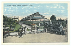 Grand Central Depot, Houston, Texas. (SMU Central University Libraries) Tags: railroadstations steamlocomotives railroadpassengercars carriages carts horses southernpacificrailroadcompany