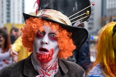 The Maddest Hatter (Silver Machine) Tags: bristol bristolzombiewalk2016 zombie man themadhatter blood streetphotography street streetportrait streetparade hat eyes fujifilm fujifilmxt10 fujinonxf35mmf2rwr