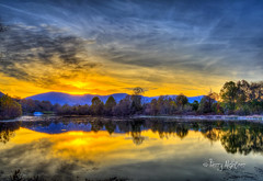 Blue Ridge and Golden Pond Sunset (Terry Aldhizer) Tags: pond cherry blossom trails botetourt county virginia daleville greenfield area trees blue ridge mountains reflections sunset autumn fall october terry aldhizer wwwterryaldhizercom