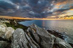 Sunset pointe du Grouin (Gilles Bourdreux Photographie) Tags: france bretagne grouin mer seascape sunset sun falaise rochers reflets reflection landscape pointe saint malo cancale nuages