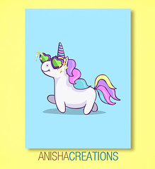 Fabulous Unicorn (Anisha_Creations) Tags: cute cartoons unicorn fantasy silly doodle fabulous diva lol fab colorful rainbow kawaii character animals humor pastel colors sunglasses hearts retro summer happy sparks geek