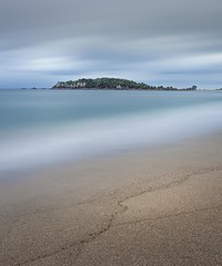 Shhh!. Surf beach going to sleep. (eos1969) Tags: surf evening quiet main mount mt maunganui nz tourist tourism waves clouds longexposure canon flickr 5d dslr digital blue movement calm flat serene calming invitind island islands central horizon aqua turquoise rescue irb lifesavers dangerous photostream astoundingimage