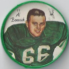 1964 Nalley's Potato Chips CFL Plastic Football Coin (type 1 back) - AL BENECICK #77-N (Hall of Fame 1996) (Saskatchewan Roughriders / Canadian Football League) (Baseball Autographs Football Coins) Tags: 1964 nalleys football coins caps footballcoins footballcaps bclions britishcolumbialions edmontoneskimos calgarystampeders saskatchewanroughriders winnipegbluebombers blank back blankback cfl canadianfootballleague potatochips vintage type1 type2 errorback albemecick halloffame hof