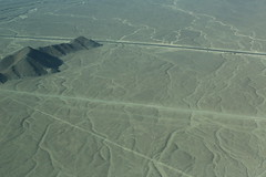 Aerial View Mysterious Nasca Lines Peru South America (In Memoriam Ngaire Hart) Tags: peru southamerica nasca nazca nascalines nazcalines mysterious historical ancient biomorphs geoglyphsgeometric forms triangle spiral circle trapezoid plant animal hummingbird monkey spider aerial aerialview geology plains rocks gravel sand dust arid dry incavalley panamericanhighway nazcavalley birds beasts strange symbols eriagn ngairelawson ngairehart travel photography texture little stories picswithsoul