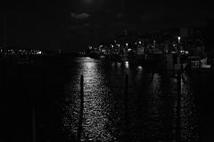 Moonlight in the Port (Ingrid Friis Photo) Tags: mnsken moonlight lomma hamn harbour sweden morning early tidigt natt moln cloud supermoonlight supermnsken svartvit bw blackwhite
