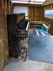 Playing Rough (Steve Taylor (Photography)) Tags: art digital carpet construction chair window seat blue brown grey rainbow wooden wood newzealand nz southisland canterbury christchurch city cbd texture piano thecommons