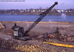 Loading Pulwood Logs for Hardboard Processing 1972 (Twin Ports Rail History) Tags: browning railroad steam crane hoist derrick twin ports rail history by jeff lemke time machine pulpwood loading flat car industry 1972